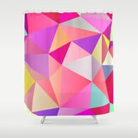 Pink Polygons Shower Curtain by House of Jennifer