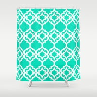 Lattice Stars in Teal Shower Curtain by House of Jennifer