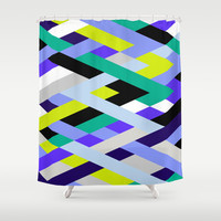 Smart Diagonals Lime Shower Curtain by House of Jennifer