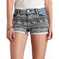 PAISLEY PRINT HIGH-WAISTED DENIM SHORTS