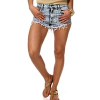 Med Denim Acid Wash Distressed Shorts