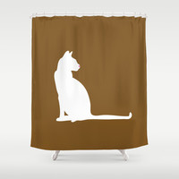 Cat Silhouettes: Havana Brown Shower Curtain by CAPow!