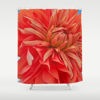Orange Dahlia Shower Curtain by Yoshigirl