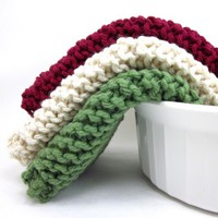 Knitted Dishcloth Set Colonial Cranberry Sage Green Cream Wash Cloth   | EweniqueEssentials - Housewares on ArtFire