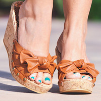 Knotty Or Nice Cork Wedge - Cognac
