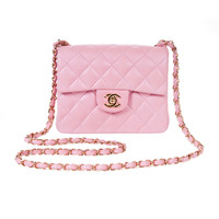 Chanel Classic Powder Pink Mini Flap Leather Bag