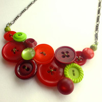 Apple Red and Green Christmas Vintage Button Statement Necklace