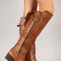 Bronco-14 Zipper Round Toe Riding Knee High Boot