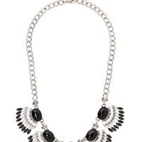 black and white fan statement necklace