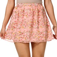 BlushRed Floral Chiffon Skirt