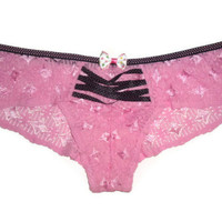 Small Pink Corset Style Polka Dot Bow Decorated Underwear