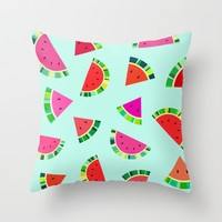 Watermelons Print Throw Pillow by House of Jennifer