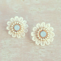 Dainty Soft Blue Lace Earrings