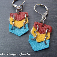 Leather chevron Geometric Earrings boho chic colorful statement earring
