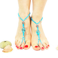 Turquoise and Silver Barefoot Sandals, Slave Anklet, Foot jewelry, Flexible, Anklet bracelet with toe ring, Ethno Boho Foot Jewelry, blue