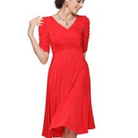 Ever Pretty 3/4 Sleeve Sexy V-neck High Stretch Short Casual Dress 03632