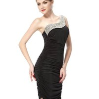 Ever Pretty One Shoulder Ruffles Rhinestones Sequins Short Cocktail Party Club Dress 03482