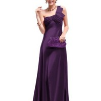 Ever Pretty Open Back One Shoulder Ruffles Padded Satin Evening Party Formal Dress 09667