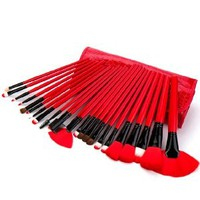24 Pcs Makeup Cosmetic Brushes Set with Black Red Case Bag