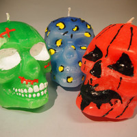 Velas calaveras pintadas a mano con fragancias skull candles fragances smells hand painted