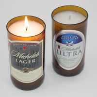 Michelob Lager, Michelob Ultra Beer Bottle Candle from Recycled Beer Bottle, High Scented, Custom Made Candle