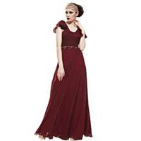 Coniefox Deep Red Pleated Formal Prom Evening Dresses with Flouncing Sleeves Size L Color Deep Red
