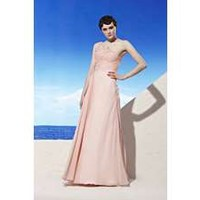 Coniefox Pink A-line Prom Evening Dresses One Shouder Pleated Applique Floor Length dresses Size XL Color Pink