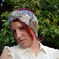Crochet turban in variegated blues and greys, hairband, headband, headwrap, ear warmer