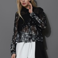 Meteor Shower Asymmetric Chiffon Shirt