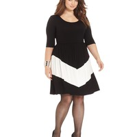 ING Plus Size Three-Quarter-Sleeve Chevron A-Line Dress