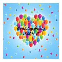 Balloon Heart - Birthday Party Invitation