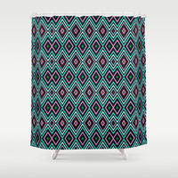 Aqua Diamond Pattern Shower Curtain by Webgrrl