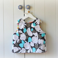 Modern roses Baby Apron / vest in grey and turquoise roses and colorful stripes