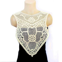 Lace necklace, Crochet necklace, Handmade Cotton Lace Collar, Back lace or necklace, Bib crochet, Cream, Big Necklace, Woman Applique