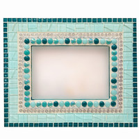 Accent Mirror - Teal Mixed Media Mosaic