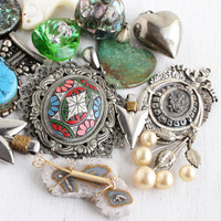 Vintage Pendant Lot - 13 Large Retro Costume Jewelry Charms for Necklaces, Bracelets - Semi Precious Stones, Abalone, Mother of Pearl
