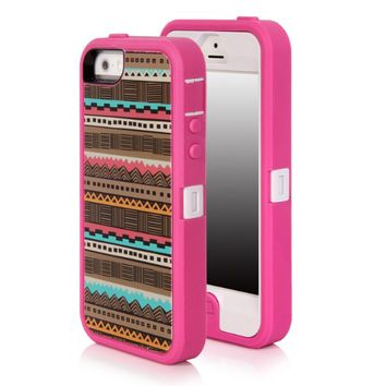 SGM Apple iPhone 5S / iPhone 5 (16GB, 32GB, 64GB, Unlocked T-Mobile, AT&T, Verizon, Sprint 4G LTE)) Multiple layer protection High Impact Hybrid Armor Case (Hot Pink (Tribal), iPhone 5S / 5)