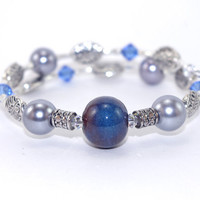 Memory wire bracelet, Blue brown ceramic bead, Gray glass pearls, Blue Swarovski crystals, Antique silver plated beads, Memory wrap bangle