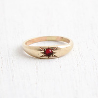 Vintage Art Deco 10k Ruby Red Stone Yellow Gold Ring - Size 3/4 Baby Midi 1930s Star Fine Jewelry Hallmarked A&Z Chain Co