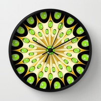 Mandala Gold and Emeralds Wall Clock by Bluedarkat Lem