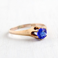 Antique Gold Shell Sapphire Blue Glass Stone Ring - Vintage Size 9 1910 Edwardian Solitaire Raised Jewelry