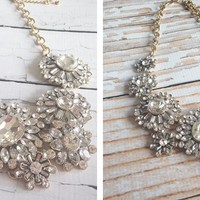 Best Selling Iced Flowers Bib Statement Necklace