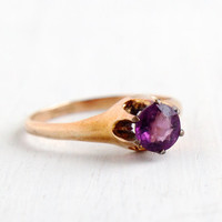 Antique Gold Shell Amethyst Purple Glass Stone Ring - Vintage Size 6 1/2 1910 Edwardian Solitaire Raised Jewelry