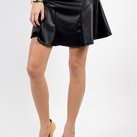 9150-10-3 Leather Skater Skirt Apparel Shorts & Skirts BLACK Bare Feet Shoes