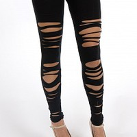 P7014-9-3 Slashed Leggings Apparel Leggings BLACK Bare Feet Shoes