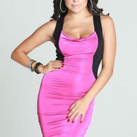 Pink & Black Sleevless Colorblock Bodycon Dress w/ Open Back #bodycon #colorblock #sexy