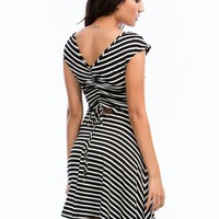 Striped N Cinched Skater Dress