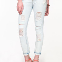 SHREDDED LIGHT WASH SKINNY JEANS