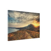 Crimea Landscape and Golden Sunset Canvas Print