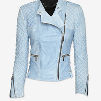 Barbara Bui Moto Leather Jacket: Blue Jean | Shop IntermixOnline.com